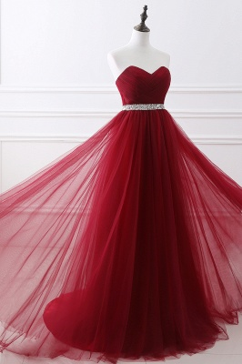 Custom Made Fluffy Tulle A-line Sweetheart Burgundy Prom Dresses Cheap With Beads Belt_11