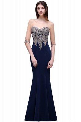BELLA | Sheath Round Neck Floor-Length Burgundy Prom Dresses With Applique_4