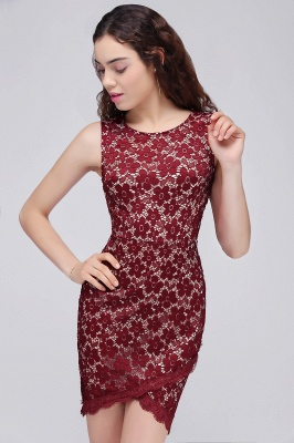 BRILEY | Bodycon Round Neck Short Lace Burgundy Homecoming Dresses_4