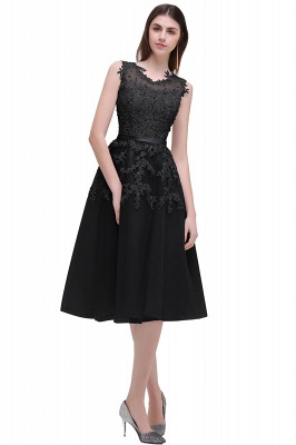 Tea-Length A-line Sheer-Neck Amazing Lace-Appliques Beaded Party Dresses_5