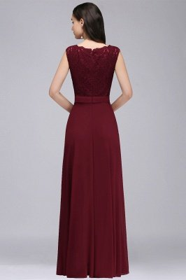 CORINNE   A-line Floor-length Lace Burgundy Elegant Prom Dress_7
