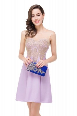 ESTHER | A-line Sleeveless Chiffon Short Prom Dresses with Appliques_13
