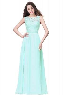 ELYSE | A-line Sleeveless Crew Floor-length Lace Top Chiffon Prom Dresses_9