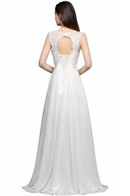 AYLA | A-line Sweetheart Chiffon White Evening Dress With Lace_3