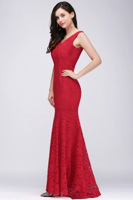 CLARISSA  Mermaid Floor-length Lace Red Prom Dress_8