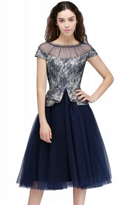 BRIDGET | A-Line Round Neck Knee-Length Tulle Lace Dark Navy Homecoming Dresses_1
