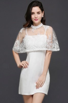White Two-Piece High-Neck Cute Short Evening Dresses_1