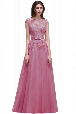 AUBREE | A-line Floor-Length Tulle Prom Dress With Lace Appliques_2