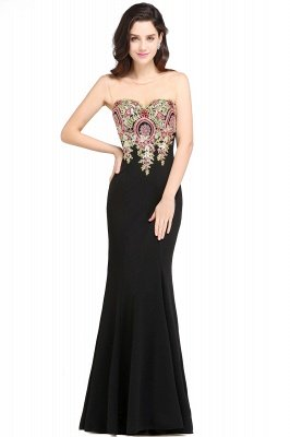 ALYSON | Sheath Straps Floor Length Black Evening Dresses with Appliques_1