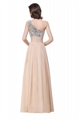 ADELYN | A-line Floor-length Chiffon Evening Dress with Sequined_4