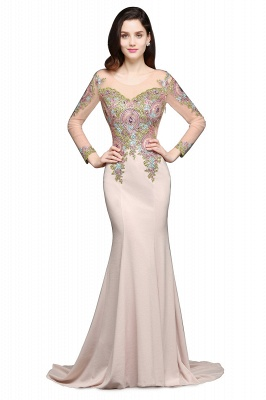 ALMA | Mermaid Scoop Pearl Pink Evening Dresses with Appliques_4
