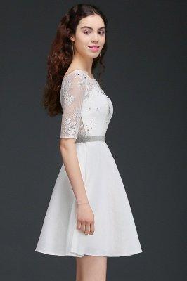 ALICIA   Une ligne bijou blanc manches courtes robes de retour en satin avec dentelle_3