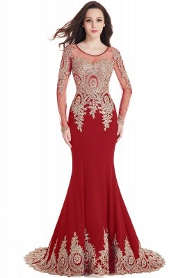 Crystal | Sexy Mermaid Lace Appliques Long Sleeves Prom Dresses with Beadings_2
