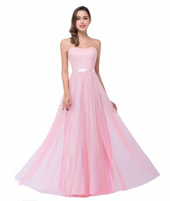 Simple Spaghetti-Straps Ruffles A-Line Pink Open-Back Evening Dress_10