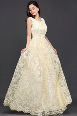 AYA | A-line Scoop Floor Length Evening Dress With Lace_5