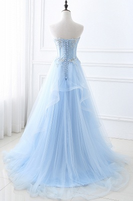 Strapless Fluffy Tulle Sky Blue Formal Dresses | Lace Appliques Evening Gowns Cheap_3