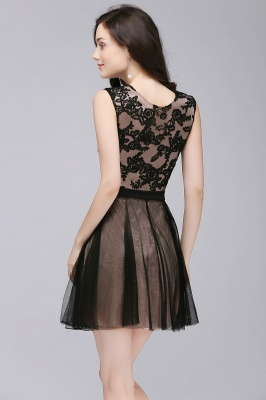 ELEANOR | A-line Crew Short Sleeveless Tulle Lace Appliques Prom Dresses_5