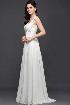 AYLA | A-line Sweetheart Chiffon White Evening Dress With Lace_5