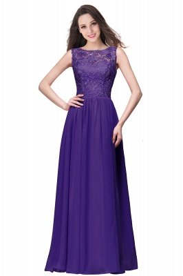 ELYSE | A-line Sleeveless Crew Floor-length Lace Top Chiffon Prom Dresses_4