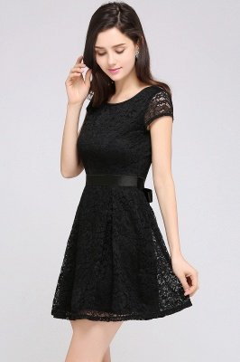 ARMANI | A-line Scoop Black Lace Cheap Homecoming Dress with Sash_13