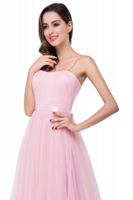 Simple Spaghetti-Straps Ruffles A-Line Pink Open-Back Evening Dress_11