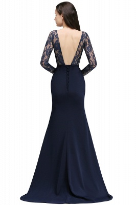 ALICE | Mermaid Jewel Navy Blue Lace Long Evening Dresses With Sleeve_5