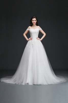 AMIA | A-line Off-the-Shoulder Tulle Elegant Wedding Dresses with Appliques