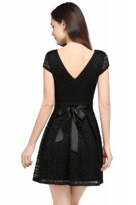 ARMANI | A-line Scoop Black Lace Cheap Homecoming Dress with Sash_9