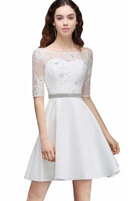 ALICIA   Une ligne bijou blanc manches courtes robes de retour en satin avec dentelle_6
