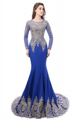 Crystal | Sexy Mermaid Lace Appliques Long Sleeves Prom Dresses with Beadings_6