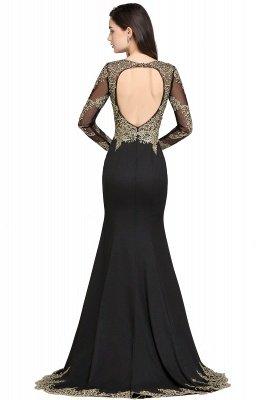 AMANDA | Mermaid Scoop Floor Length Black Elegant Evening Dresses with Appliques_2