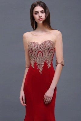 BELLA | Sheath Round Neck Floor-Length Burgundy Prom Dresses With Applique_8
