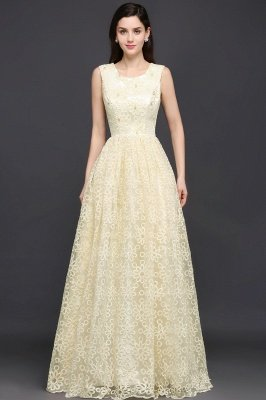 AYA | A-line Scoop Floor Length Evening Dress With Lace_2