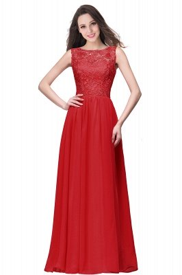 ELYSE | A-line Sleeveless Crew Floor-length Lace Top Chiffon Prom Dresses_2