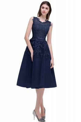 Tea-Length A-line Sheer-Neck Amazing Lace-Appliques Beaded Party Dresses_4