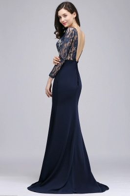 ALICE | Mermaid Jewel Navy Blue Lace Long Evening Dresses With Sleeve_6
