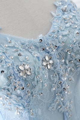 Strapless Fluffy Tulle Sky Blue Formal Dresses | Lace Appliques Evening Gowns Cheap_6