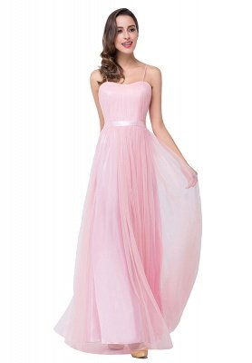 Simple Spaghetti-Straps Ruffles A-Line Pink Open-Back Evening Dress_4