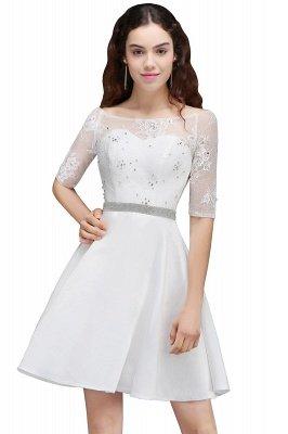 ALICIA   Une ligne bijou blanc manches courtes robes de retour en satin avec dentelle_7