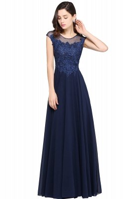 AVALYN   A-line Scoop Navy Chiffon Prom Dress With Appliques_4