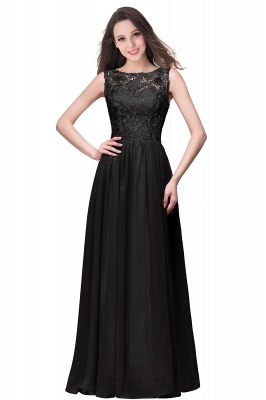ELYSE | A-line Sleeveless Crew Floor-length Lace Top Chiffon Prom Dresses_7