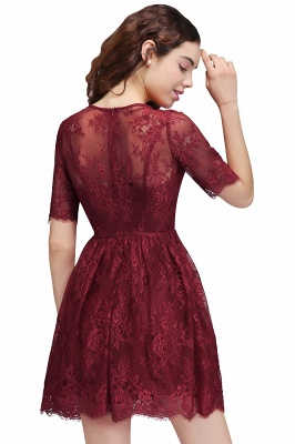 BRITTANY | A-Line Round Neck Short Lace Burgundy Homecoming Dresses_3