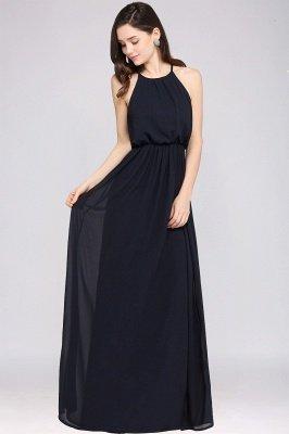 CHEYENNE   A-line Floor-length Chiffon Navy Blue Simple Prom Dress_10