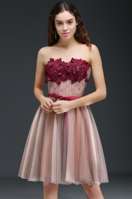 CLAUDIA | Princess Strapless Knee-length Tulle Homecoming Dress with a Self-tie Belt_5
