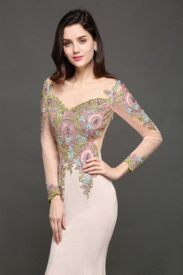 ALMA | Mermaid Scoop Pearl Pink Evening Dresses with Appliques_1
