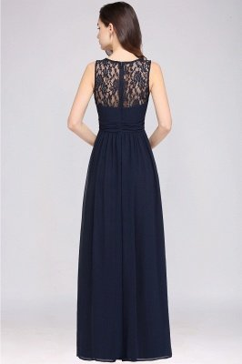 CHELSEA | Sheath Round neck Floor-length Navy Blue Prom Dress_12