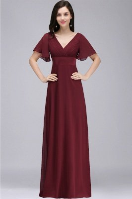 COLETTE | A-line Floor-length Chiffon Burgundy Prom Dress with Soft Pleats_7