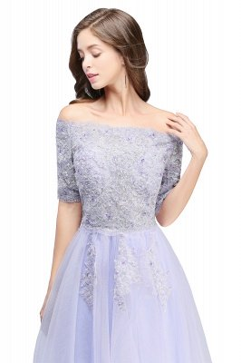 ADILYNN | A-line Bateau Tulle Prom Dress with Appliques_5