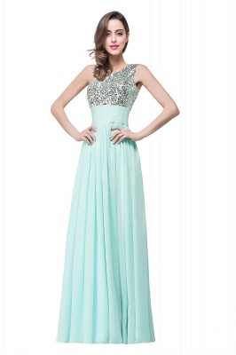 ADELYN | A-line Floor-length Chiffon Evening Dress with Sequined_2