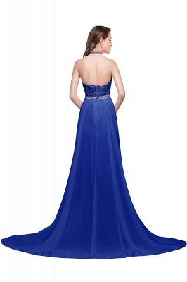 ADELE | A-line Halter Chiffon Evening Dress with Lace_7